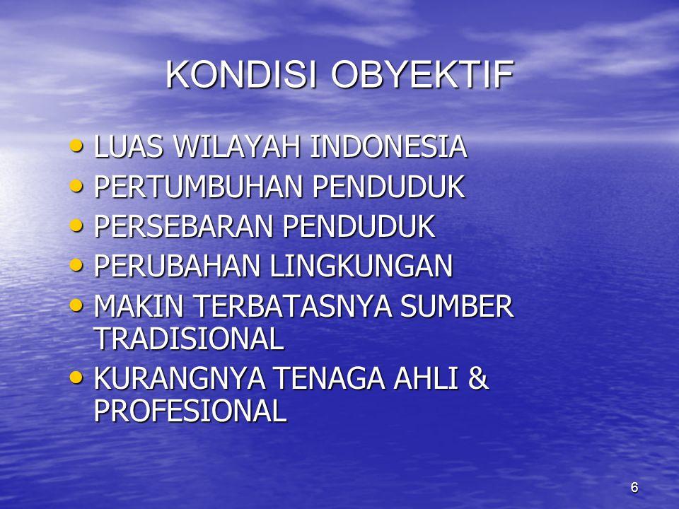 KONDISI OBYEKTIF LUAS WILAYAH INDONESIA PERTUMBUHAN PENDUDUK