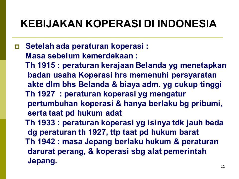 KEBIJAKAN KOPERASI DI INDONESIA