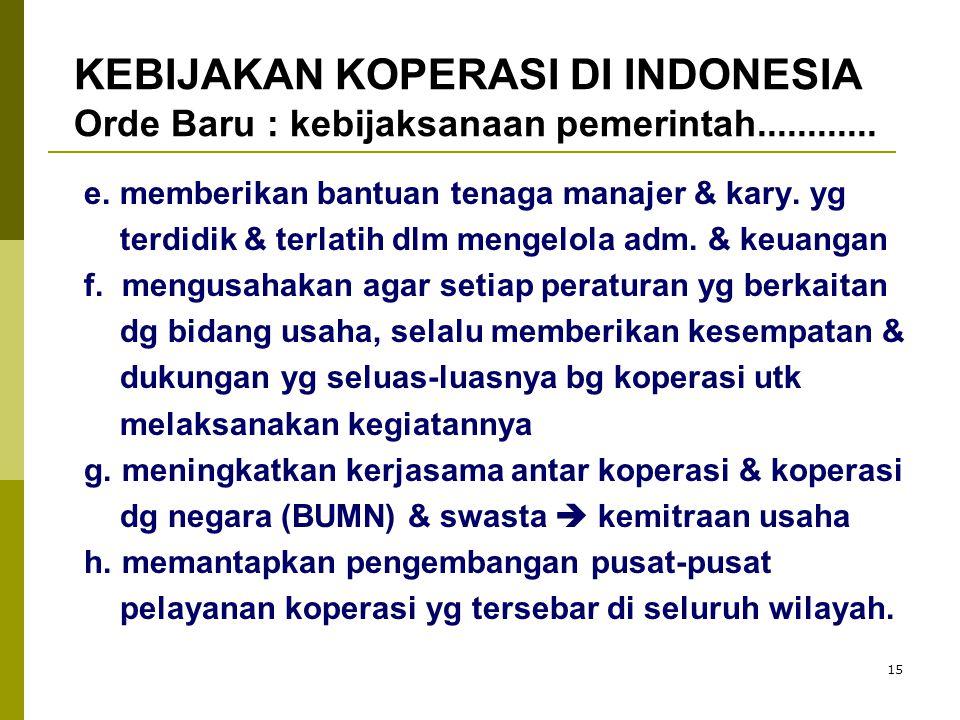 KEBIJAKAN KOPERASI DI INDONESIA Orde Baru : kebijaksanaan pemerintah............