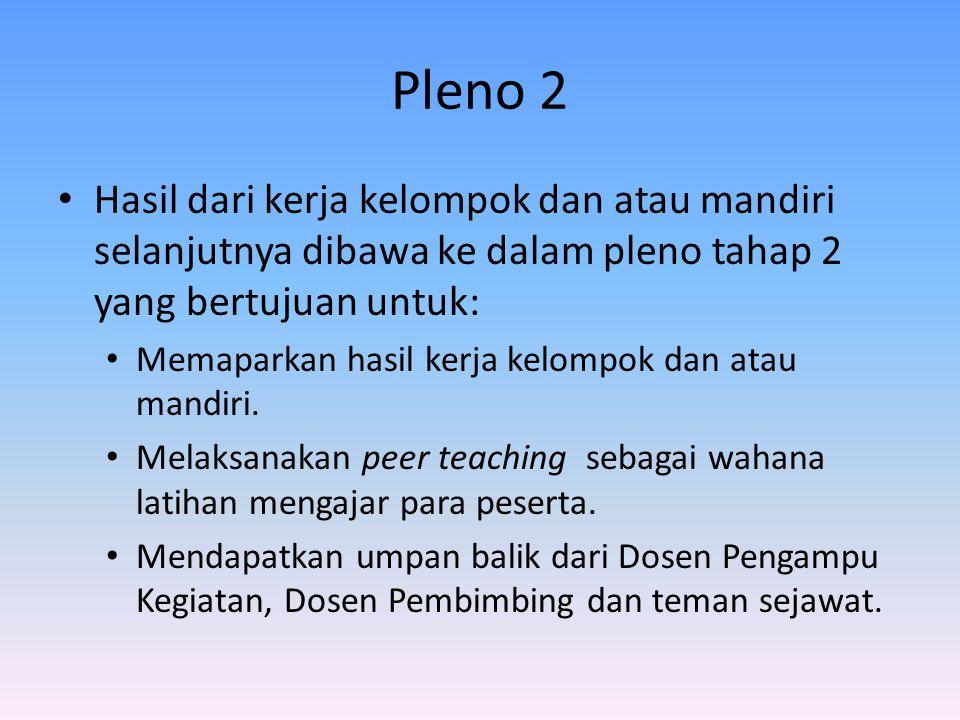 Pleno 2 Hasil dari kerja kelompok dan atau mandiri selanjutnya dibawa ke dalam pleno tahap 2 yang bertujuan untuk: