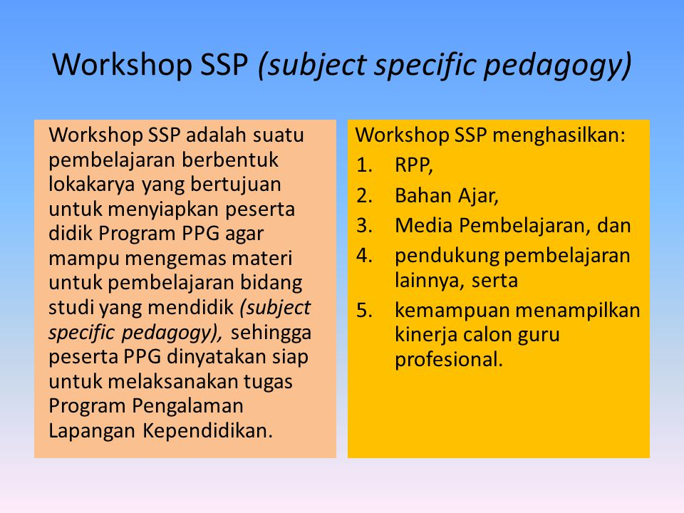 Workshop SSP (subject specific pedagogy)