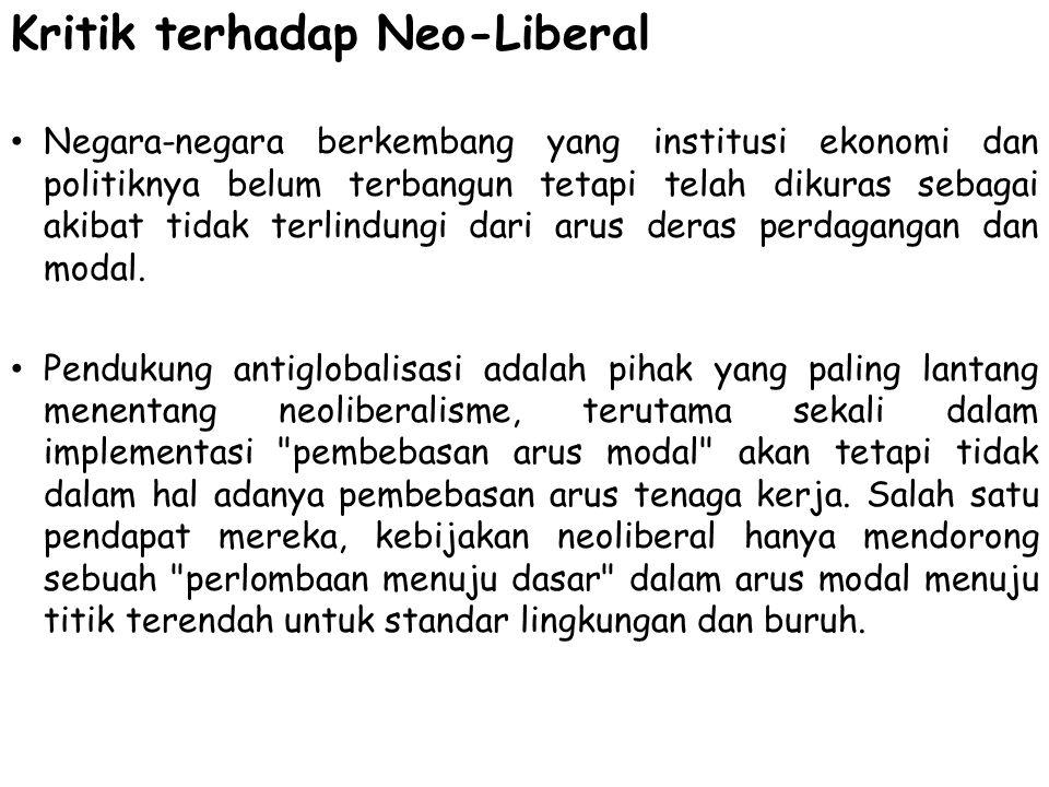 Kritik terhadap Neo-Liberal