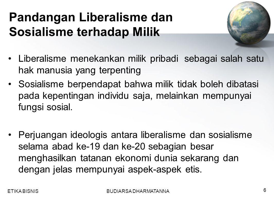 Pandangan Liberalisme dan Sosialisme terhadap Milik