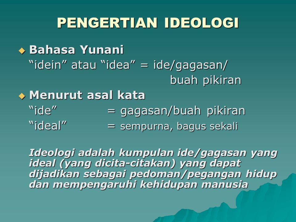 PENGERTIAN IDEOLOGI Bahasa Yunani idein atau idea = ide/gagasan/