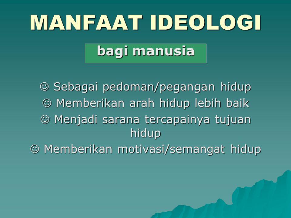 MANFAAT IDEOLOGI bagi manusia  Sebagai pedoman/pegangan hidup