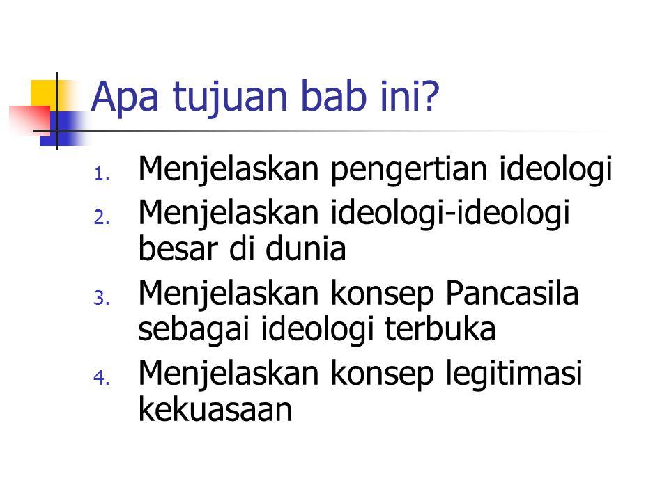 Apa tujuan bab ini Menjelaskan pengertian ideologi