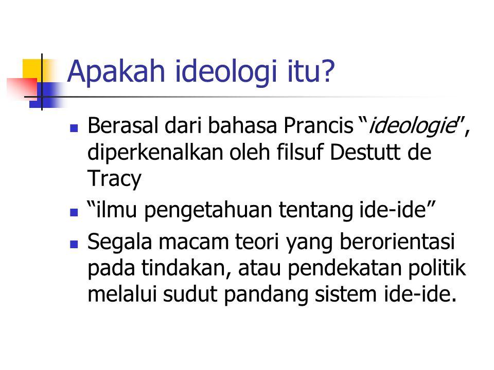 Apakah ideologi itu Berasal dari bahasa Prancis ideologie , diperkenalkan oleh filsuf Destutt de Tracy.