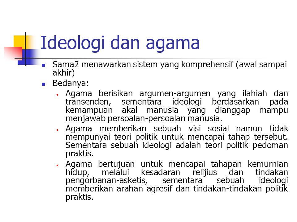 Ideologi dan agama Sama2 menawarkan sistem yang komprehensif (awal sampai akhir) Bedanya: