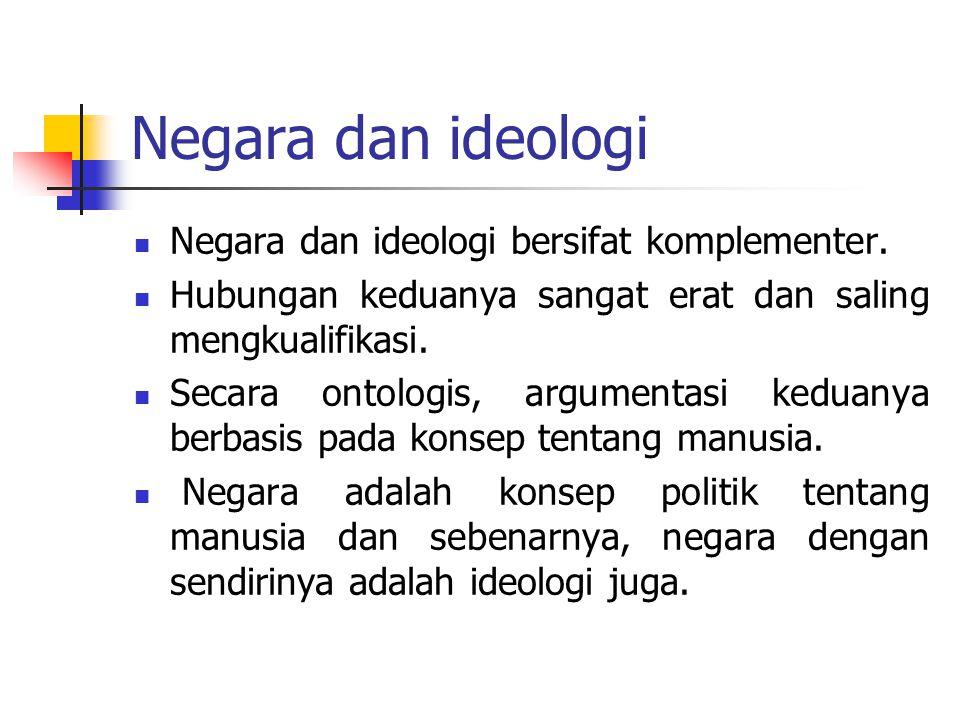 Negara dan ideologi Negara dan ideologi bersifat komplementer.