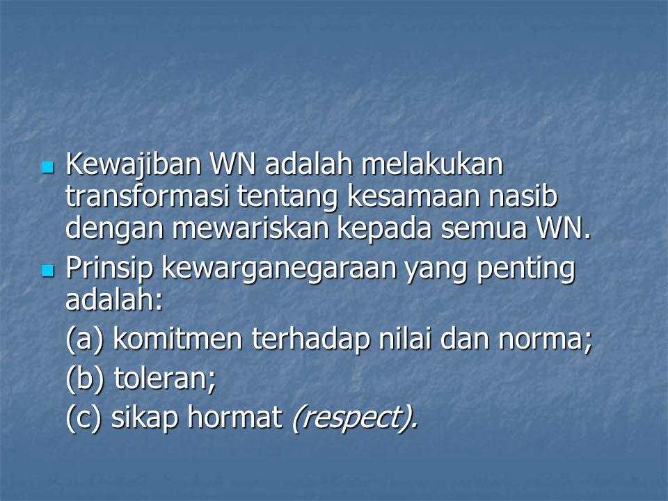Kewajiban WN adalah melakukan transformasi tentang kesamaan nasib dengan mewariskan kepada semua WN.