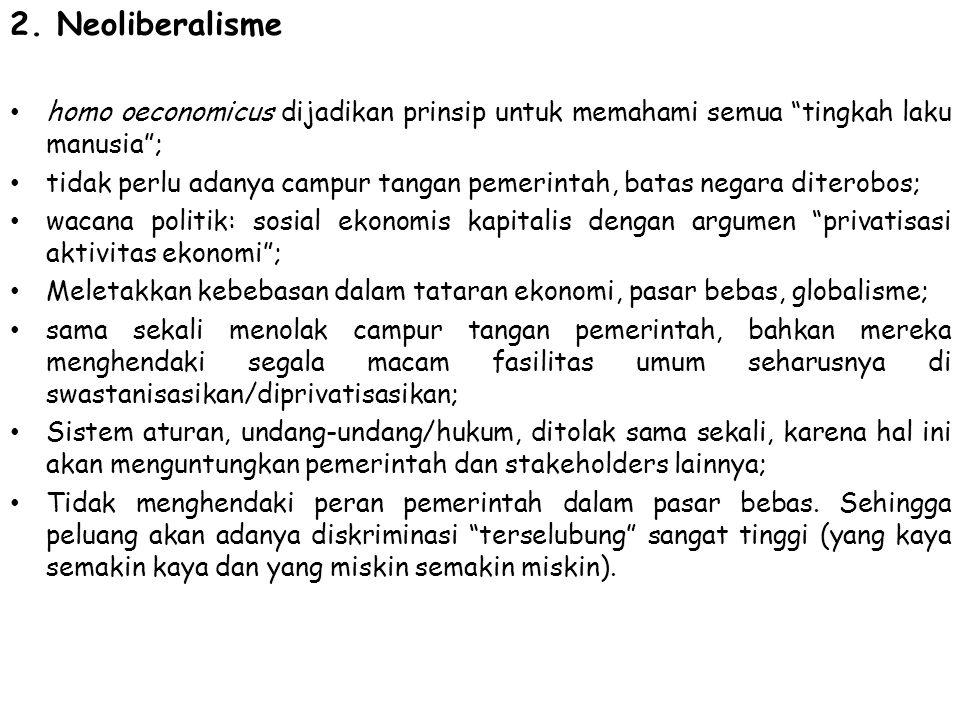 2. Neoliberalisme homo oeconomicus dijadikan prinsip untuk memahami semua tingkah laku manusia ;