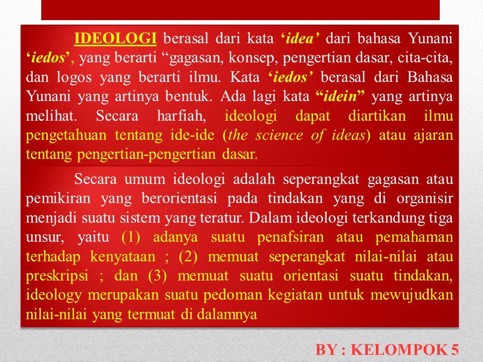 IDEOLOGI berasal dari kata 'idea' dari bahasa Yunani 'iedos', yang berarti gagasan, konsep, pengertian dasar, cita-cita, dan logos yang berarti ilmu. Kata 'iedos' berasal dari Bahasa Yunani yang artinya bentuk. Ada lagi kata idein yang artinya melihat. Secara harfiah, ideologi dapat diartikan ilmu pengetahuan tentang ide-ide (the science of ideas) atau ajaran tentang pengertian-pengertian dasar.