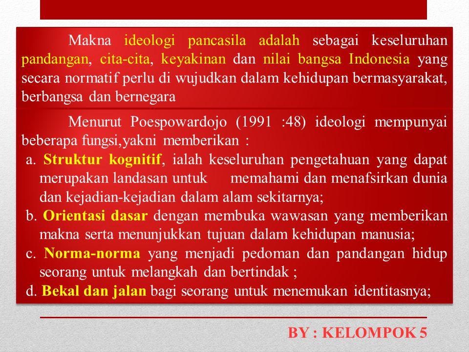 Makna ideologi pancasila adalah sebagai keseluruhan pandangan, cita-cita, keyakinan dan nilai bangsa Indonesia yang secara normatif perlu di wujudkan dalam kehidupan bermasyarakat, berbangsa dan bernegara