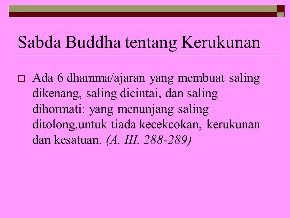 Sabda Buddha tentang Kerukunan