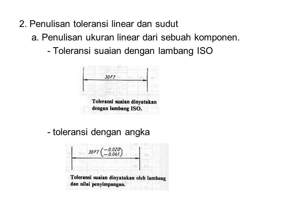 2. Penulisan toleransi linear dan sudut