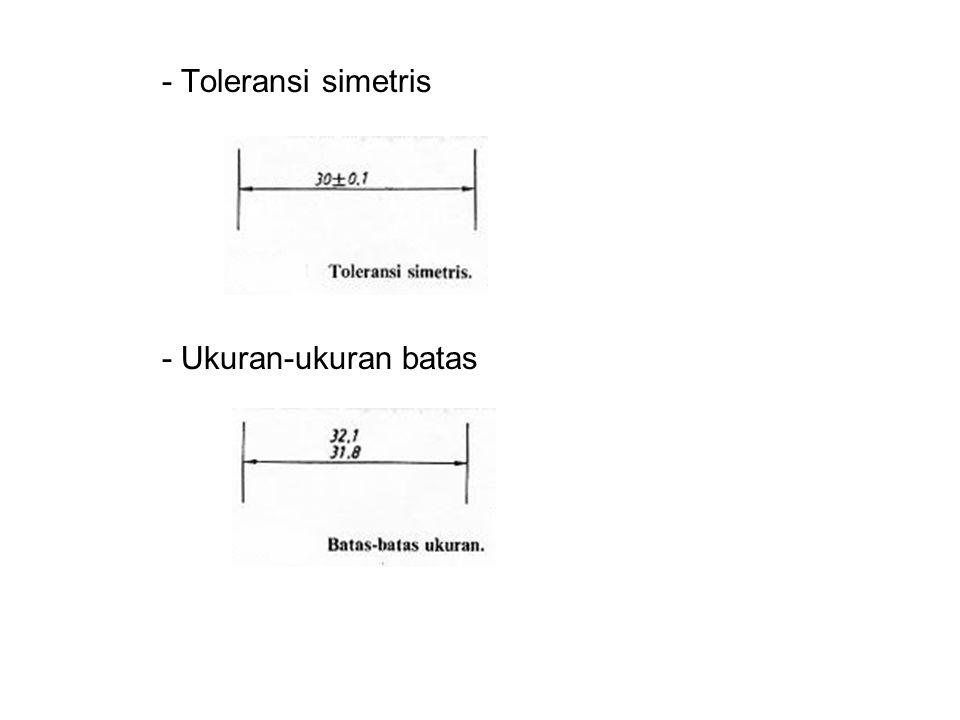 - Toleransi simetris - Ukuran-ukuran batas