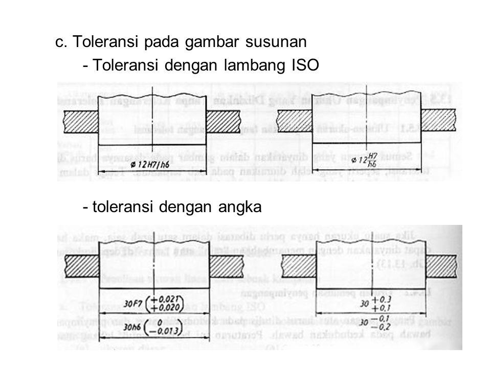 c. Toleransi pada gambar susunan
