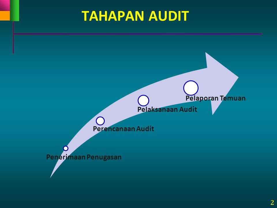 TAHAPAN AUDIT Penerimaan Penugasan Perencanaan Audit Pelaksanaan Audit