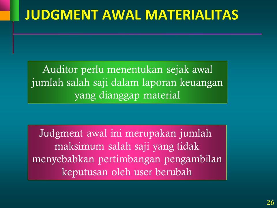 JUDGMENT AWAL MATERIALITAS