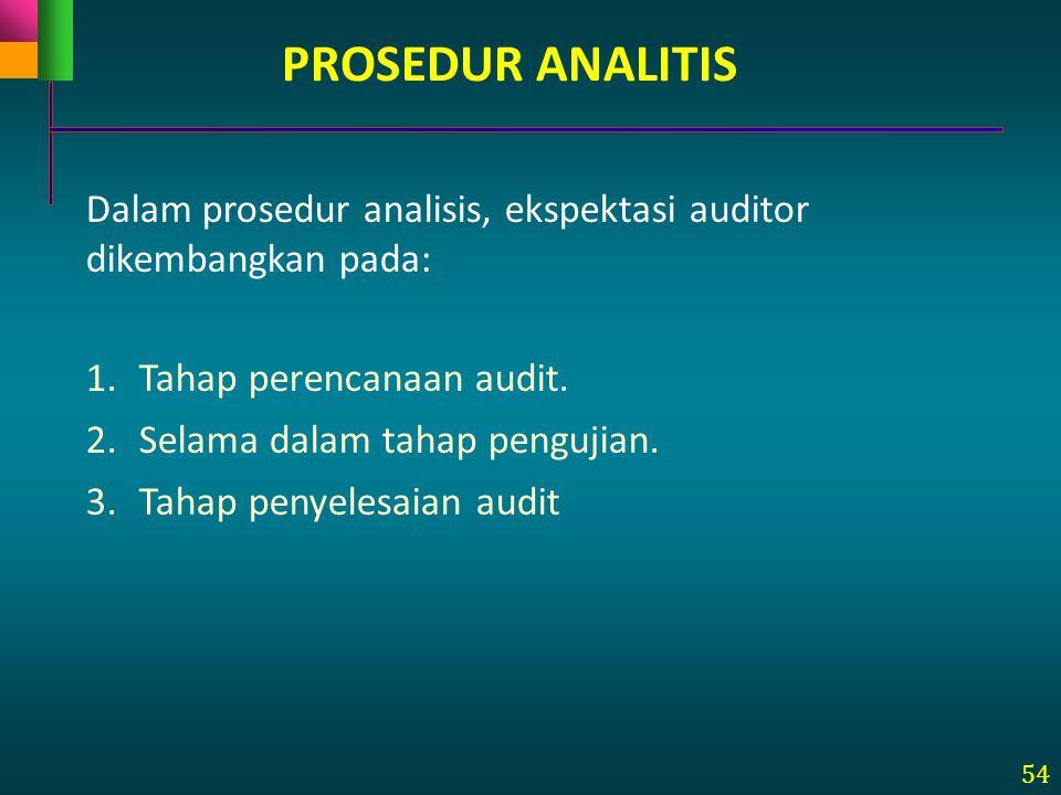 PROSEDUR ANALITIS Dalam prosedur analisis, ekspektasi auditor dikembangkan pada: Tahap perencanaan audit.