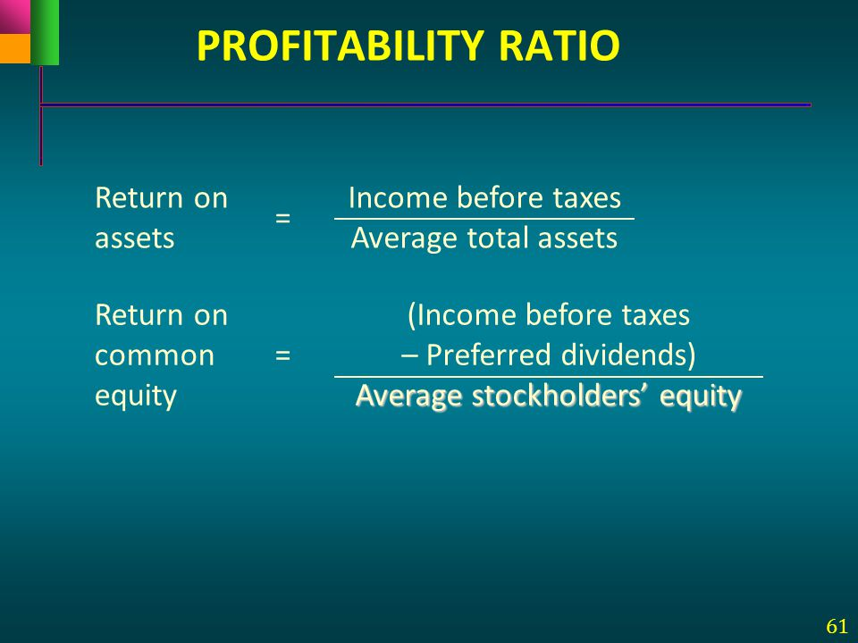 PROFITABILITY RATIO Return on assets = Income before taxes
