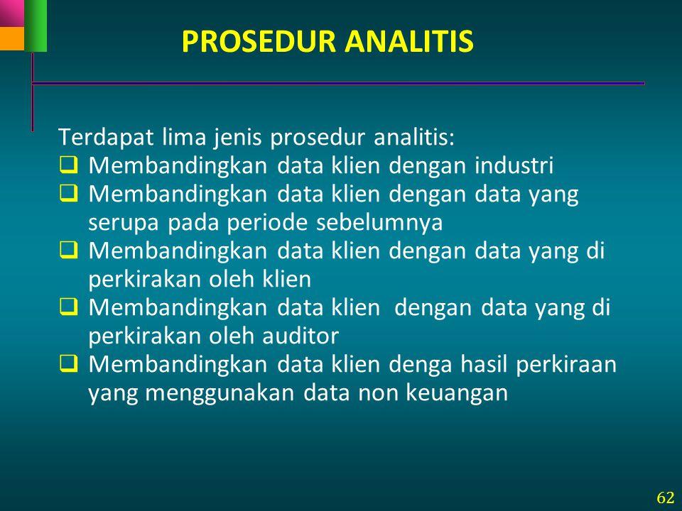 PROSEDUR ANALITIS Terdapat lima jenis prosedur analitis: