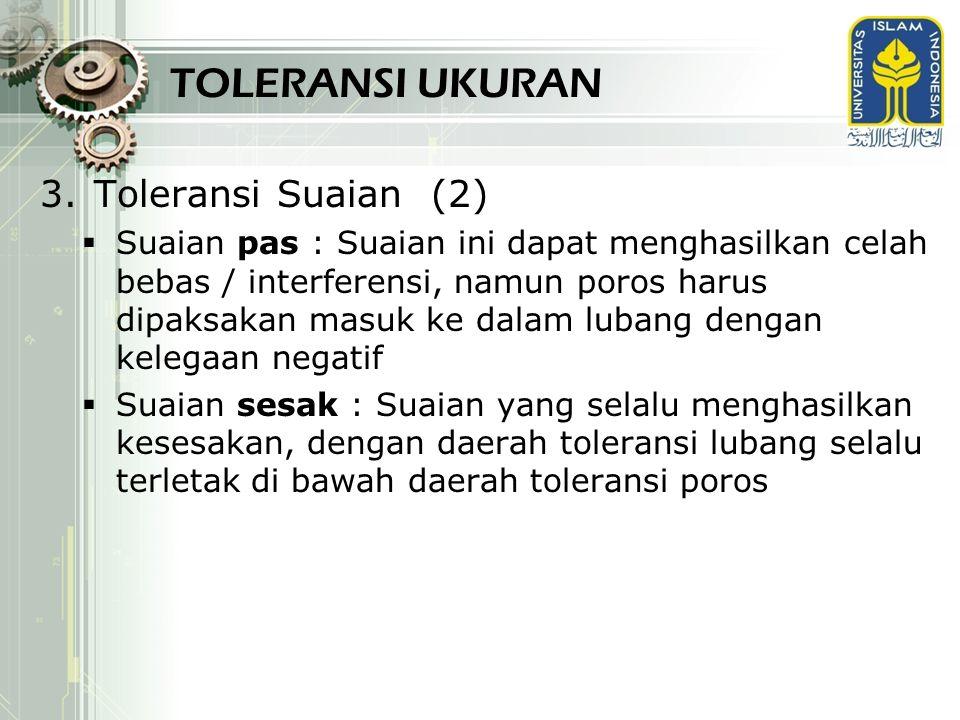TOLERANSI UKURAN Toleransi Suaian (2)