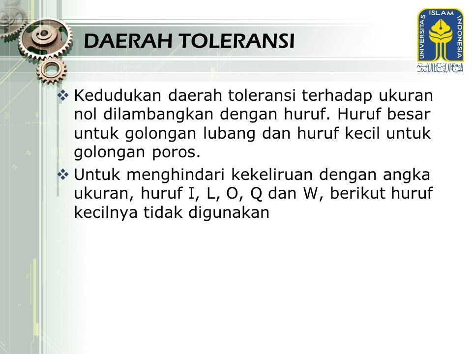 DAERAH TOLERANSI
