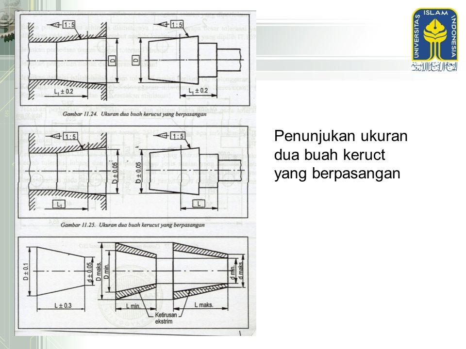 Penunjukan ukuran dua buah keruct yang berpasangan
