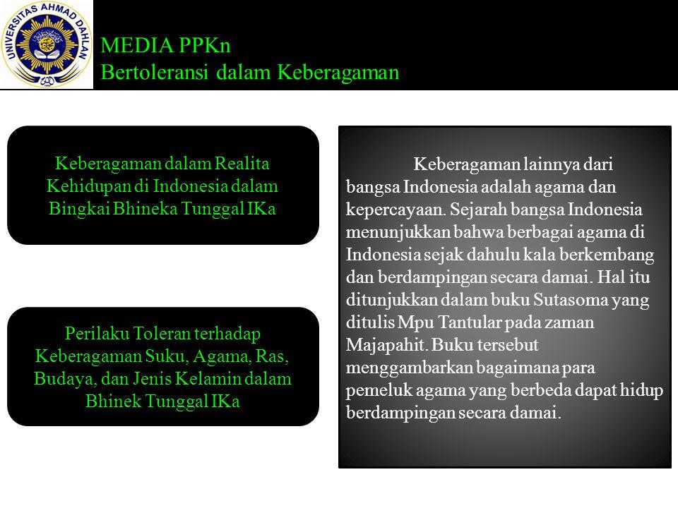 Keberagaman lainnya dari bangsa Indonesia adalah agama dan