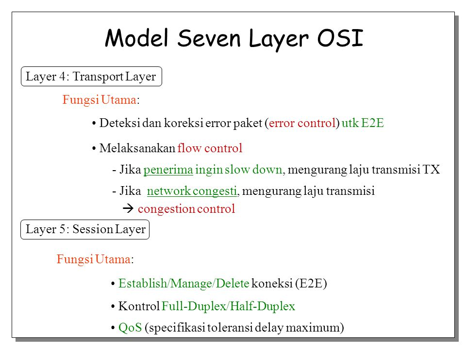 Model Seven Layer OSI Layer 4: Transport Layer Fungsi Utama: