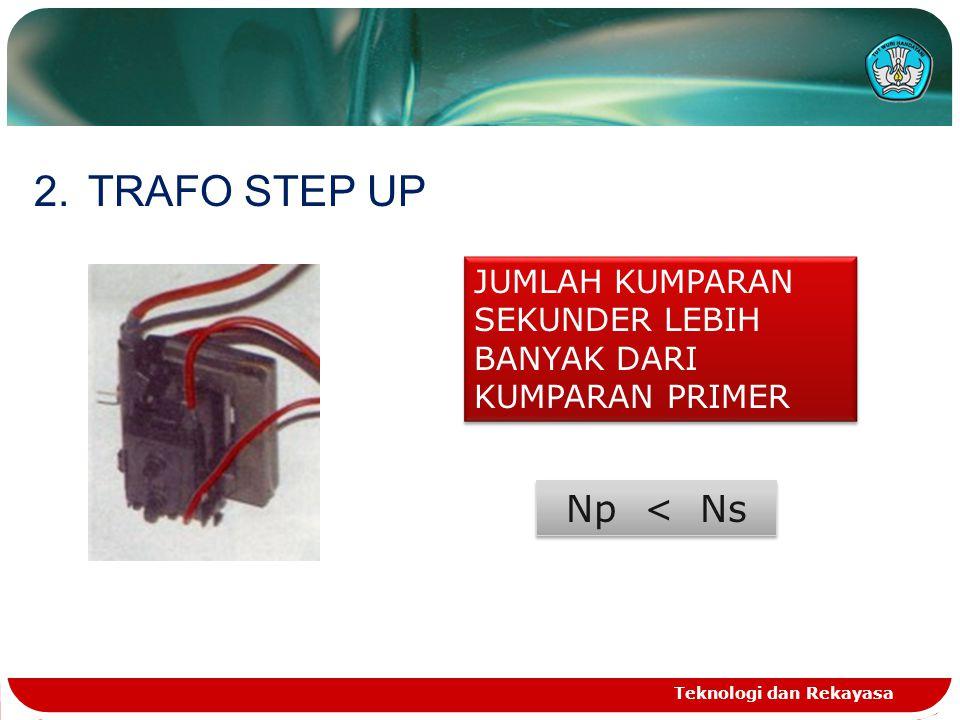 TRAFO STEP UP JUMLAH KUMPARAN SEKUNDER LEBIH BANYAK DARI KUMPARAN PRIMER.