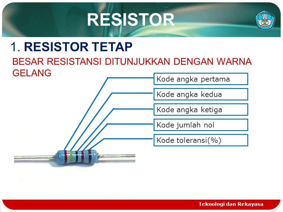 RESISTOR 1. RESISTOR TETAP
