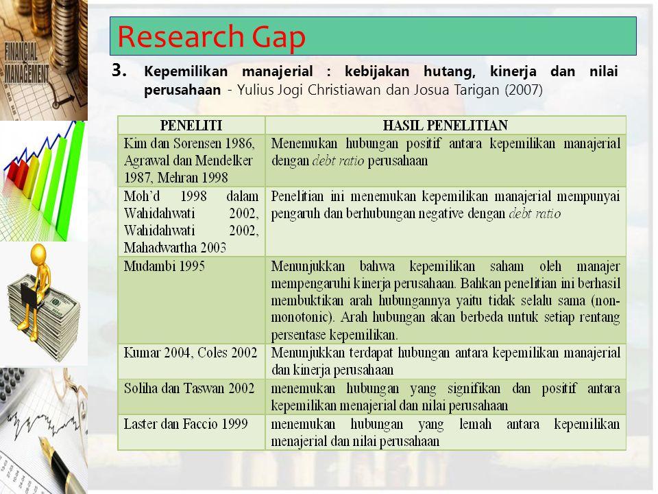 Research Gap 3. Kepemilikan manajerial : kebijakan hutang, kinerja dan nilai perusahaan - Yulius Jogi Christiawan dan Josua Tarigan (2007)