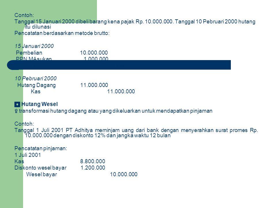 Contoh: Tanggal 15 Januari 2000 dibeli barang kena pajak Rp. 10.000.000. Tanggal 10 Pebruari 2000 hutang itu dilunasi.