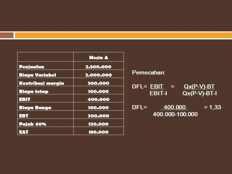 Pemecahan: DFL= EBIT = Qx(P-V)-BT EBIT-I Qx(P-V)-BT-I
