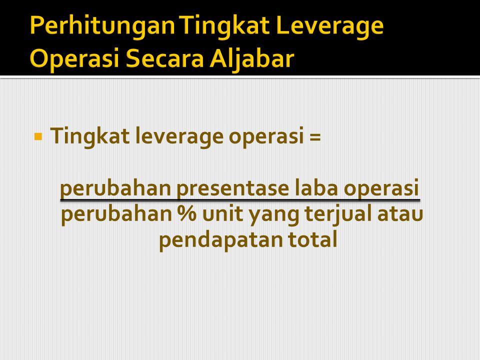 Perhitungan Tingkat Leverage Operasi Secara Aljabar