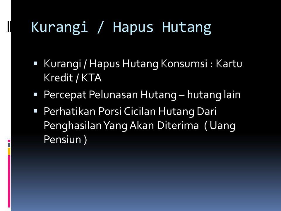 Kurangi / Hapus Hutang Kurangi / Hapus Hutang Konsumsi : Kartu Kredit / KTA. Percepat Pelunasan Hutang – hutang lain.