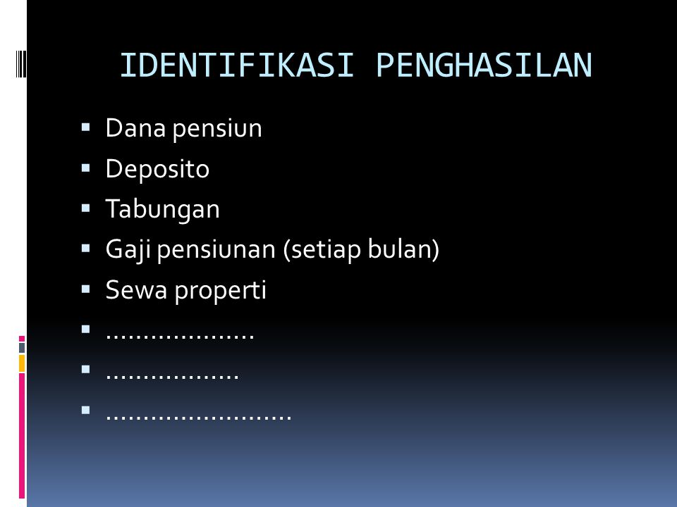IDENTIFIKASI PENGHASILAN