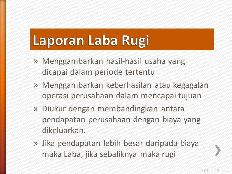 Laporan Laba Rugi Menggambarkan hasil-hasil usaha yang dicapai dalam periode tertentu.