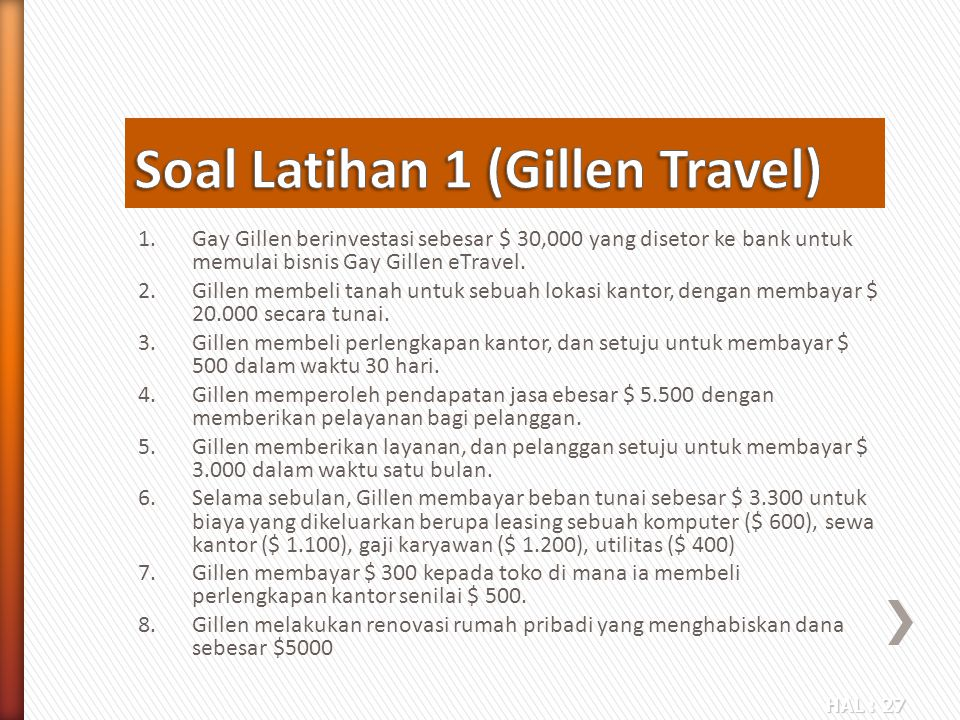 Soal Latihan 1 (Gillen Travel)