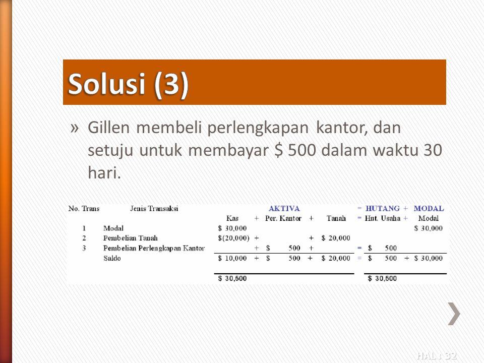 Solusi (3) Gillen membeli perlengkapan kantor, dan setuju untuk membayar $ 500 dalam waktu 30 hari.