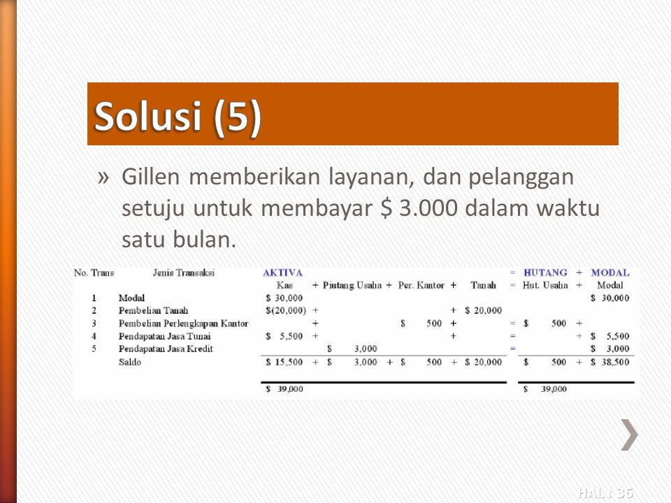 Solusi (5) Gillen memberikan layanan, dan pelanggan setuju untuk membayar $ 3.000 dalam waktu satu bulan.