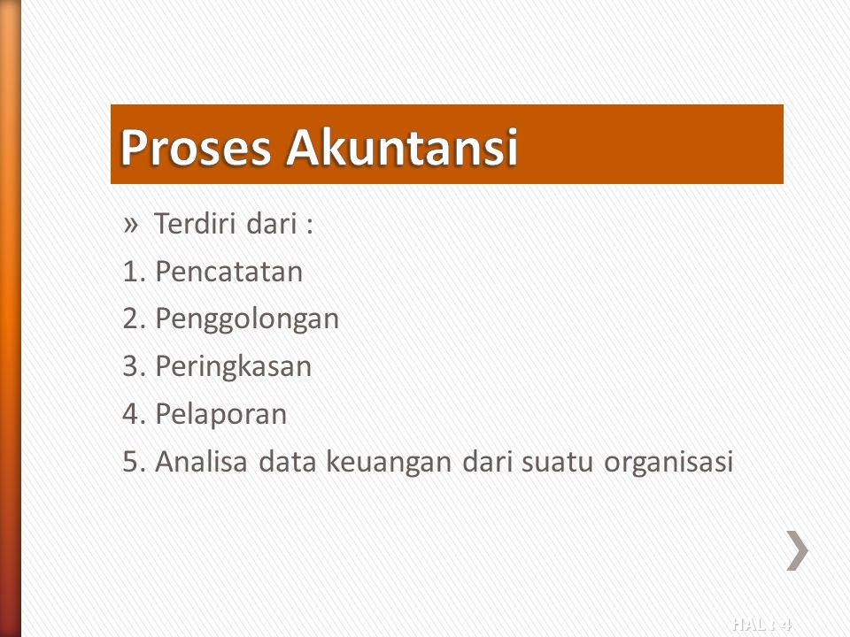 Proses Akuntansi Terdiri dari : 1. Pencatatan 2. Penggolongan