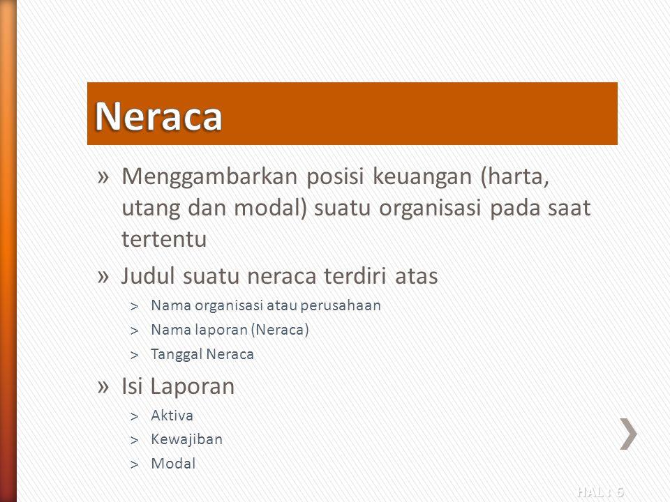Neraca Menggambarkan posisi keuangan (harta, utang dan modal) suatu organisasi pada saat tertentu. Judul suatu neraca terdiri atas.