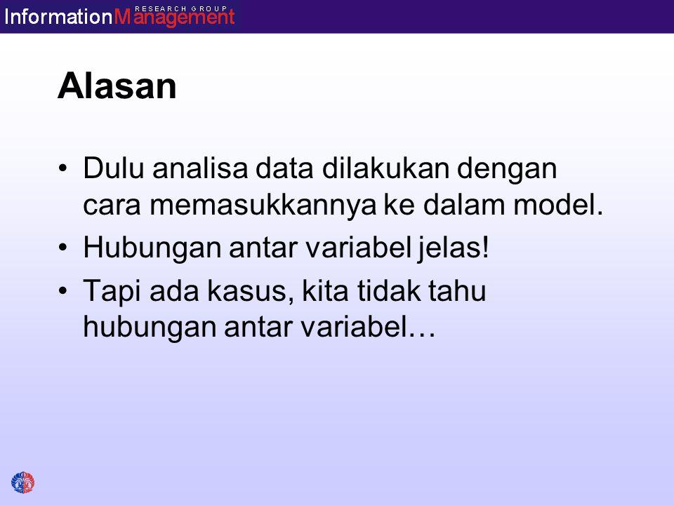 Alasan Dulu analisa data dilakukan dengan cara memasukkannya ke dalam model. Hubungan antar variabel jelas!