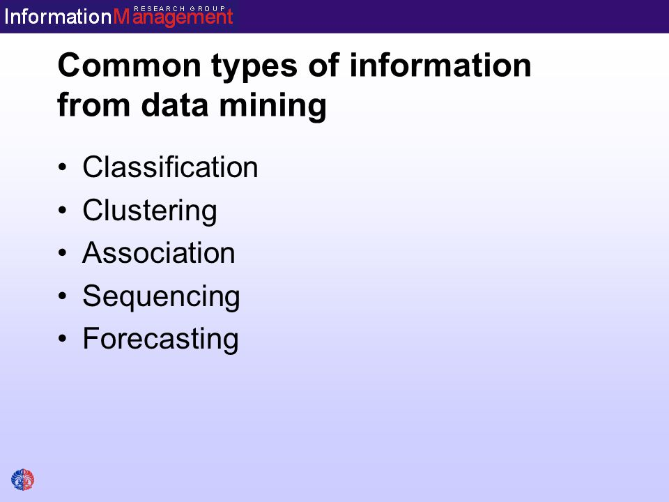 Common types of information from data mining