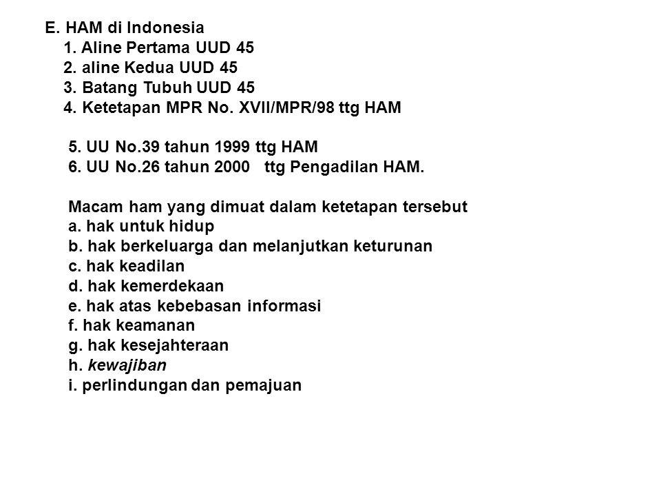 E. HAM di Indonesia 1. Aline Pertama UUD 45. 2. aline Kedua UUD 45. 3. Batang Tubuh UUD 45. 4. Ketetapan MPR No. XVII/MPR/98 ttg HAM.
