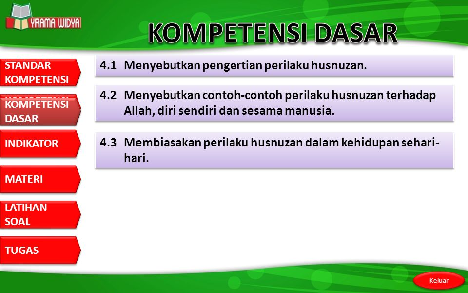 KOMPETENSI DASAR 4.1 Menyebutkan pengertian perilaku husnuzan.