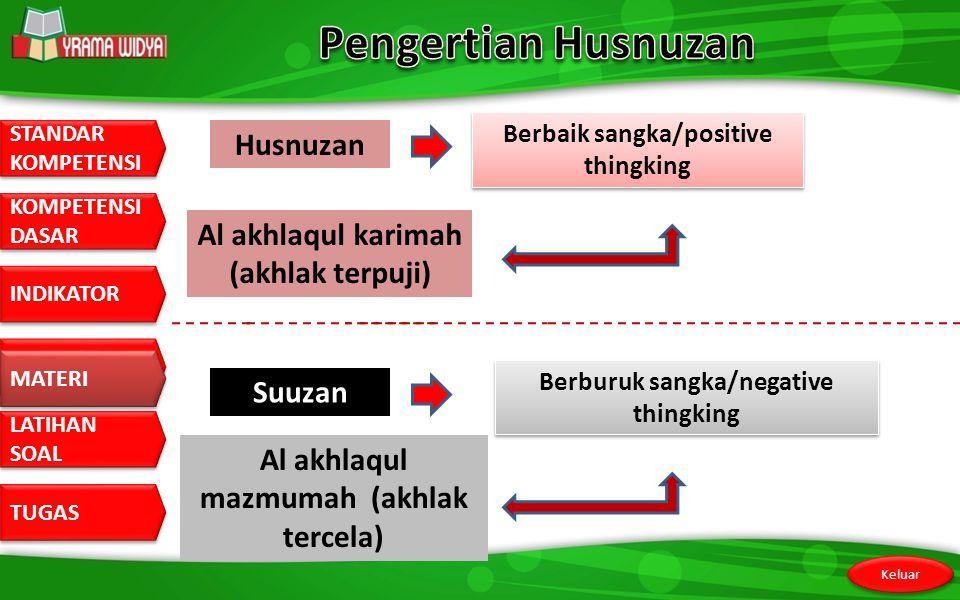 Pengertian Husnuzan Husnuzan Al akhlaqul karimah (akhlak terpuji)